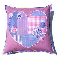 SALE PINK Patchwork Heart  Cushion
