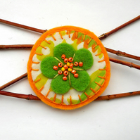 Retro Citrus Daisy Brooch - Stocking filler SALE