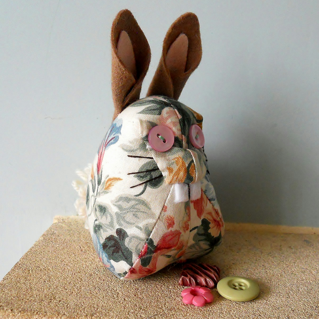 SALE Vintage fabric Retro Rabbit