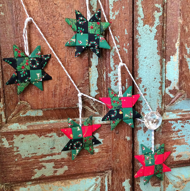 Christmas Star Garland - Vintage Fabric