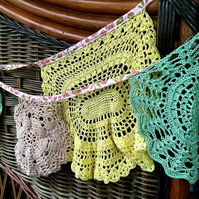 Vintage Green and Yellow Doily bunting - great for Christmas or Weddings!