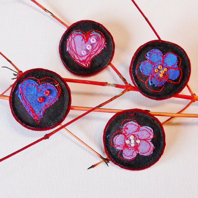 SALE Silk Heart and Flower Brooches -  Christmas Stocking filler