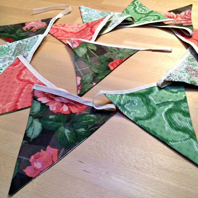 Green and Pink ROSE Floral Bunting - perfect for a wedding