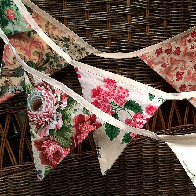 Beautiful Bright Vintage 'y Floral Bunting - perfect for a wedding