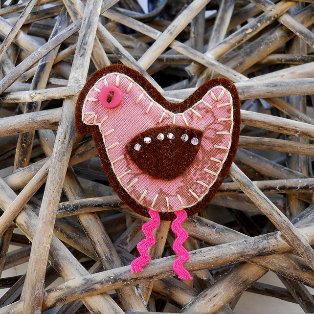 Retro Pink Bird Brooch - Christmas Stocking filler