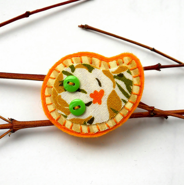Vintage Fabric Citrus Brooch - Stocking filler SALE