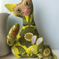 Mid Century Retro CAT and mouse  - LIME Daisy Barkcloth