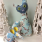 Mid Century Retro CAT and mouse  - BLUE Barkcloth