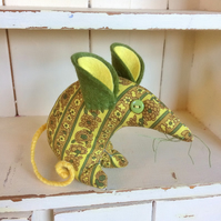 HI Mellow Yellow !  ECO Vintage fabric Retro Mouse