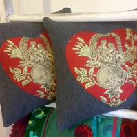 SALE FREE UK Post - Red and Grey Romantic Heart Cushion