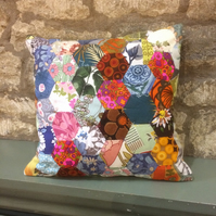 SALE FREE POST in UK Hexie Patchwork vintage Fabric Cushion