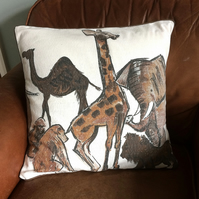 SALE African Animals Vintage Fabric Cushion