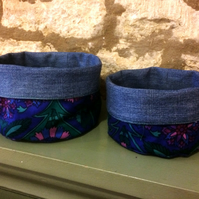 Vintage fabric bowls in 70s blue and purple design - PAIR