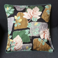 50s Vintage Fabric Bold Leaf Cushion