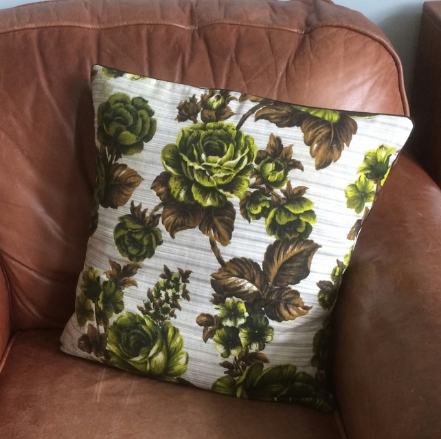 Unusual Lime Rose Vintage Fabric  Cushion