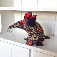 HI Prince ! a posh Retro Mouse  in Purple and Red Vintage Fabric