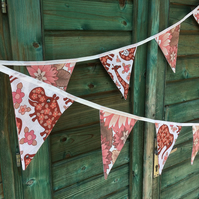 Fun Animal and flower bunting ! red and pink shades