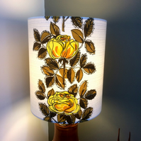 A Stylish Retro 50s YELLOW ROSE  Vintage Fabric Lampshade