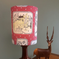 A RARE iconic MCM Mid Century Pictoral PINK Vintage Fabric Lampshade