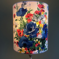 SALE FREE Post UK   Blue and Red Floral Country Vintage Fabric Lampshade