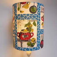A Kitsch Kitchenalia 50s 60s RETRO Blue Mid Century Vintage Fabric Lampshade
