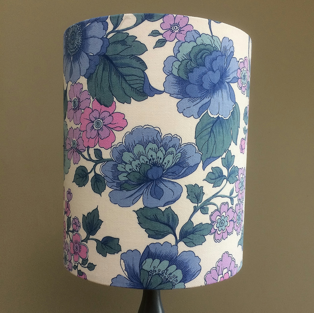 A Flower Power 70s RETRO LiLac and Blue Vintage Fabric Lampshade