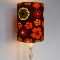 Retro Flower Power 60s Brown and Orange Barkcloth Vintage Fabric Lampshade
