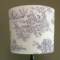 A Beautiful Lilac and White Toile Romantic Fabric Lampshade