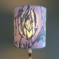 A Beautiful Lilac and Grey Abstract Floral Vintage Fabric Lampshade