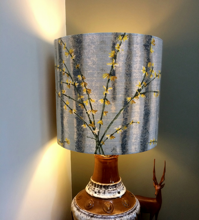 Lovely Grey and Yellow Jasmine Forsythia Vintage Fabric Lampshade