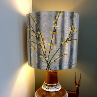 Lovely Grey and Yellow Jasmine Forsythia Country House Vintage Fabric Lampshade
