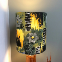Bold Grey Green Yellow Abstract MCM RETRO Barkcloth Vintage Fabric Lampshade