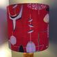 An Iconic Mid Century ATOMIC  RED 50s  Barkcloth Vintage Fabric Lampshade