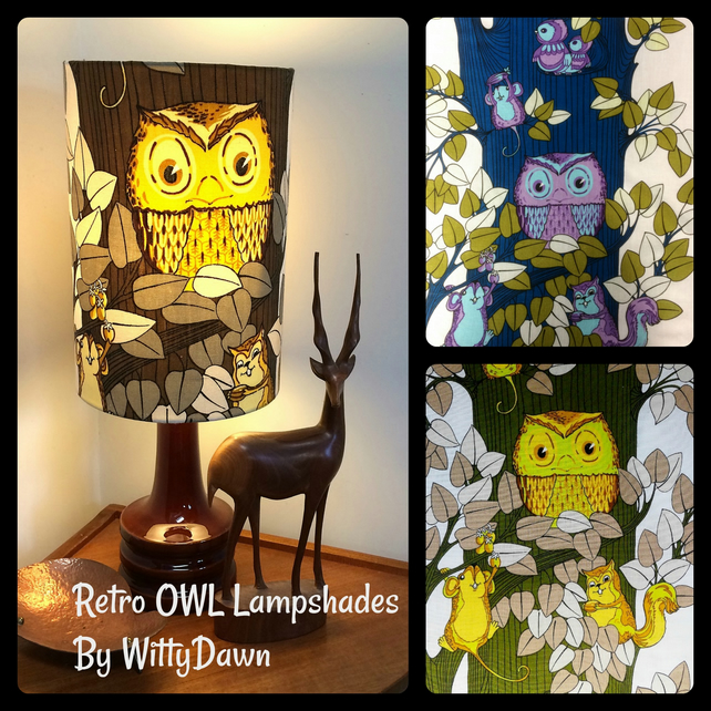 OWL Retro 60s 70s Vintage Fabric Custom Made Lampshades