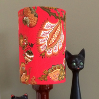 A Dramatic Scarlet RED Floral FRENCH Vintage Fabric Lampshade