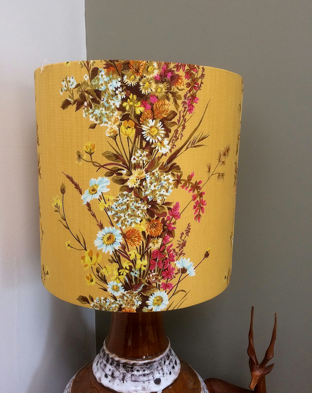 A Beautiful Yellow Floral FRENCH Vintage Fabric Lampshade