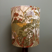 RETRO 70s Brown and Green Meadow Vintage Fabric Lampshade