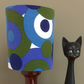 A MOD 60s RETRO Blue and Green Circles Vintage Fabric Lampshade