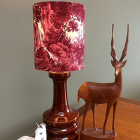 Lovely RED Stag Deer Woodland Landscape Waterfall Scene Vintage Fabric Lampshade