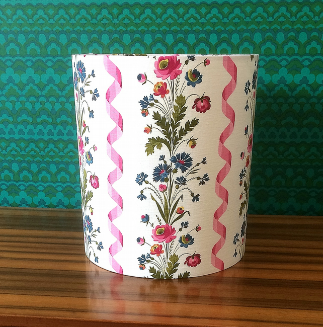 Lovely French PINK Floral Vintage Fabric Lampshade