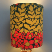 Dramatic Abstract Scandi Red Floral Vintage Fabric Lampshade