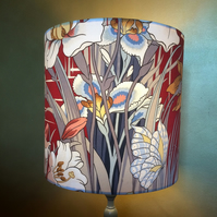 Gorgeous RED Art Nouveau Style Iris and Butterfly Vintage Fabric Lampshade