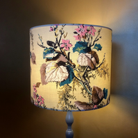 Gorgeous Yellow and Pink Blossom Floral 50s  Vintage Fabric Lampshade
