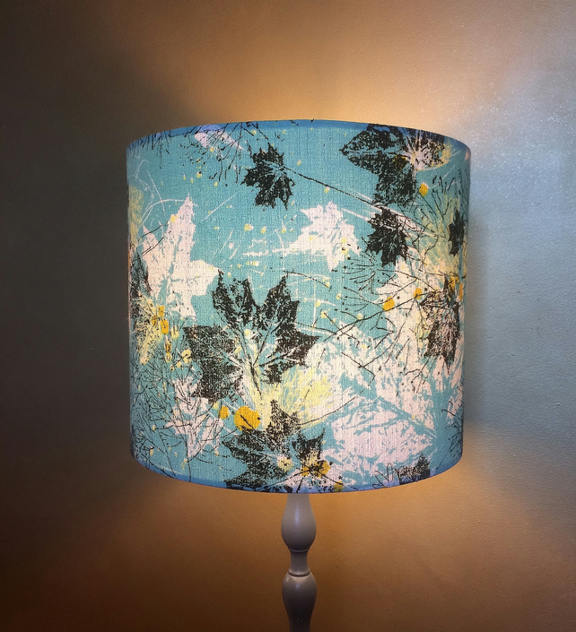 WOW!  Blue Graphic Leaf MID CENTURY 50s Barkcloth Vintage Fabric Lampshade