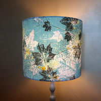 Aquamarine Blue Graphic Leaf MID CENTURY 50s Barkcloth Vintage Fabric Lampshade