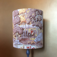 Country Landscape RARE STAG and Huntsman Barkcloth Vintage Fabric Lampshade