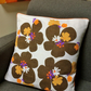 50s Retro DAISY Floral  Barkcloth Vintage Fabric Cushion