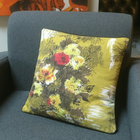 50s Retro Floral Barkcloth Lime Green Vintage Fabric Cushion