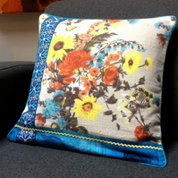 Modern Rustic Floral Vintage Fabric Patchwork Cushion
