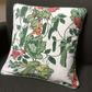 50s 60s Green Red  Kitchen Diner Gardener Barkcloth Vintage Fabric Cushion